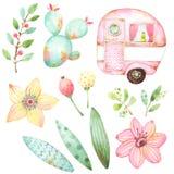 Estilo pronto para uso da ilustração das crianças ajustado dos gráficos da aquarela que incluem uma caravana retro, três folhas,  ilustração do vetor