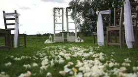 Estilo rústico decorado do arco do casamento video estoque