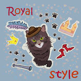 Estilo real Gato em um chapéu com uma pena etiqueta Foto de Stock Royalty Free