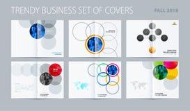 Estilo redondo do projeto abstrato do folheto da dobro-página com círculos coloridos para marcar Parceria do vetor do negócio ilustração do vetor