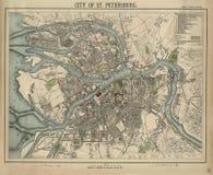Estilo retro Cidade velha do mapa de Sankt-Petersburgo, Rússia, Europa velha Imagem de Stock