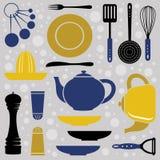 Estilo retro de la colección de la cocina Imagen de archivo libre de regalías