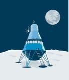 Estilo retro del aterrizaje lunar stock de ilustración