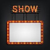 Estilo retro del letrero de Showtime con el marco ligero fotos de archivo