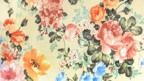 Estilo retro del vintage del fondo de la tela del estampado de flores Imagen de archivo libre de regalías