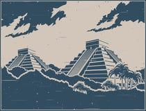 Estilo retro do cartaz das pirâmides maias ilustração do vetor