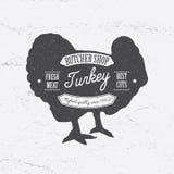 Estilo retro do molde de Shop Logo do carniceiro Projeto do vintage para o projeto do Logotype, da etiqueta, do crachá e de tipo  ilustração royalty free