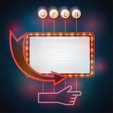 Estilo retro do quadro indicador com lâmpadas Bandeira do vintage com ampolas Imagem de Stock