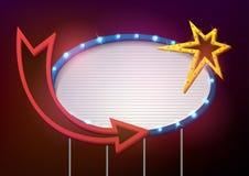 Estilo retro do quadro indicador com lâmpadas Bandeira do vintage com ampolas Imagens de Stock Royalty Free