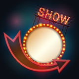 Estilo retro do quadro indicador de Showtime com quadro claro Foto de Stock