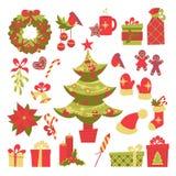 Estilo retro dos elementos do Natal Fotografia de Stock Royalty Free