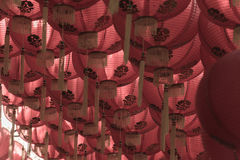 Estilo rojo del chiness de la lámpara de los comp Imagenes de archivo