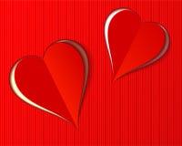 Estilo rojo hermoso del corte del papel de dos corazones de Valentine Love Ilustración del Vector