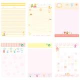 Estilo rosado y amarillo del cuaderno de papel Fotos de archivo libres de regalías