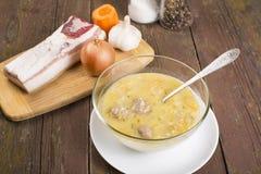 Estilo rural de la sopa con una albondiguilla Foto de archivo