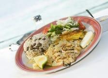Estilo sauteed grelhado das Caraíbas do kingfish do cavalli Foto de Stock
