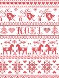 Estilo sem emenda da tela de Noel Scandinavian, inspirado pelo Natal norueguês, teste padrão festivo do inverno no ponto transver Foto de Stock