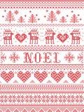 Estilo sem emenda da tela de Noel Scandinavian, inspirado pelo Natal norueguês, teste padrão festivo do inverno no ponto transver Imagem de Stock Royalty Free