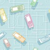 Estilo sem emenda dos desenhos animados da textura dos telefones móveis ilustração do vetor
