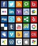 Estilo social quadrado do metro dos ícones dos meios [1] ilustração stock