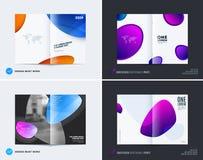 Estilo suave de la cubierta del diseño a doble página abstracto del folleto con las ondas coloridas de las formas para calificar  stock de ilustración