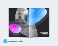 Estilo suave de la cubierta del diseño a doble página abstracto del folleto con las ondas coloridas de las formas para calificar  ilustración del vector