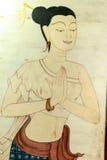 Estilo tailandés de las mujeres, sawasdee Fotografía de archivo