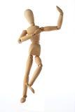 Estilo tailandés del viejo baile simulado de madera del maniquí aislado encendido fotografía de archivo
