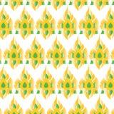 Estilo tailandês da tradição da pintura ou cores tailandesas do ouro do molde da definição e as verdes no fundo branco Fotografia de Stock Royalty Free