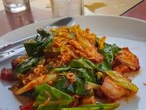 Estilo tailandês do alimento: A agitação picante fritou a carne de porco &fried do macarronete imediato fotografia de stock royalty free
