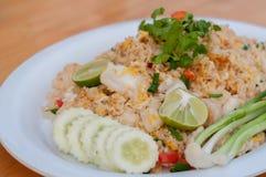 Estilo tailandês do arroz fritado do macro Imagem de Stock Royalty Free
