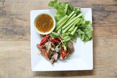 Estilo tailandês grelhado da carne de porco fotos de stock