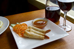 Estilo tailandês preparado camarão fritado Imagens de Stock Royalty Free