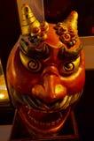 Estilo tallada y de la escultura de Oni Giant Demon Head Japanese Imágenes de archivo libres de regalías