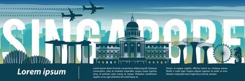 Estilo, texto dentro, viaje y turismo famosos de la silueta de la señal de Singapur, tema azul del color de tono ilustración del vector