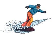 Estilo tirado da ilustração do Snowboarder à disposição Fotos de Stock Royalty Free