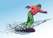 Estilo tirado da ilustração do Snowboarder à disposição Fotos de Stock