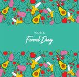Estilo tirado do cartão do fundo do dia de alimento de mundo à disposição imagem de stock