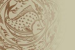Estilo tradicional de Sukhothai da arte da pintura dos peixes Imagem de Stock Royalty Free