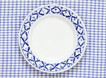 Estilo tradicional do teste padrão azul e branco do abacaxi da placa Imagem de Stock Royalty Free