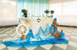 Estilo tropical del océano del mar de las decoraciones de la boda Imagenes de archivo