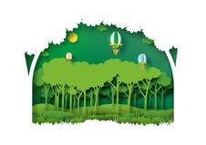 Estilo verde da arte do papel da plantação da floresta da natureza ilustração stock