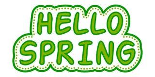 Estilo verde de la primavera de la etiqueta engomada hola Fotografía de archivo