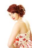 Estilo vermelho da beleza 50s do cabelo Imagens de Stock Royalty Free