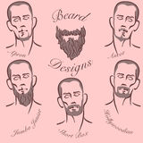 Estilos da barba e do bigode Imagens de Stock Royalty Free