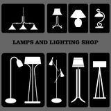 Estilos das lâmpadas Interiores home Vetor Lamrs eletricidade Fotos de Stock Royalty Free