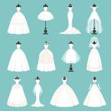 Estilos diferentes de vestidos das noivas Ilustração do vetor no estilo dos desenhos animados ilustração do vetor