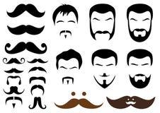 Estilos do Moustache e da barba,   Imagens de Stock
