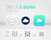 Estilos gráficos para ícones do app Imagem de Stock Royalty Free