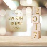 Estimado futuro, ` m de I listo: Tarjeta del Año Nuevo de la cita 2017 Foto de archivo libre de regalías